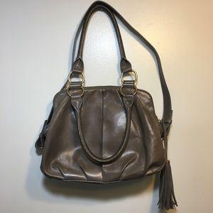 J.Crew grey leather Bristol purse top handle